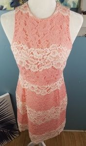 FoxieDox Pink Lace Midi Dress Size Large